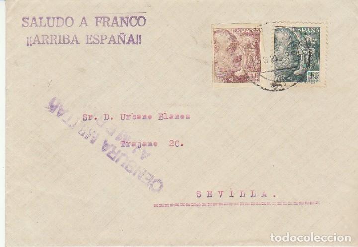 CENSURA: ALMERIA A SEVILLA. 1939 (Sellos - España - Guerra Civil - De 1.936 a 1.939 - Cartas)