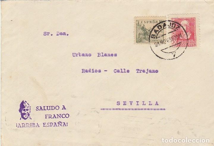 CENSURA: BADAJOZ A SEVILLA. 1938. (Sellos - España - Guerra Civil - De 1.936 a 1.939 - Cartas)