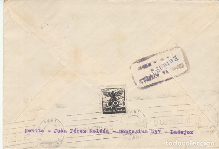 Sellos: CENSURA: BADAJOZ a SEVILLA. 1938. - Foto 2 - 178341867