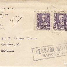 Sellos: CENSURA: BARCELONA A SEVILLA.. Lote 178342192