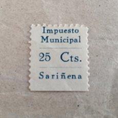 Sellos: SARIÑENA. ZARAGOZA, IMPUESTO MUNICIPAL. 25 CENTIMOS.. Lote 178369535