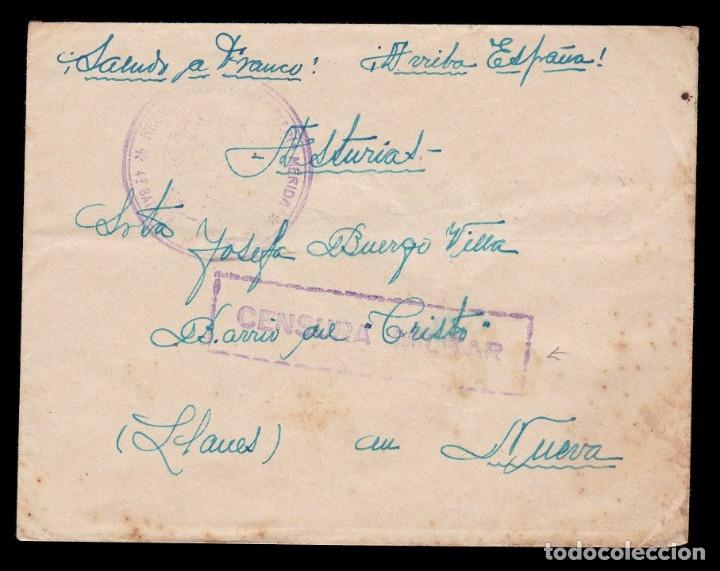 *** CARTA ZARAGOZA-LLANES (ASTURIAS) 1937?. FRANQUICIA REG. INFANTERÍA MÉRIDA 4ºBON. 1ª COMPAÑÍA *** (Sellos - España - Guerra Civil - De 1.936 a 1.939 - Cartas)