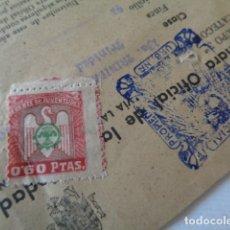 Sellos: FRENTE JUVENTUDES. 0,60 PTAS. CONTRIBUCIÓN URBANA. CANET DE MAR. BARCELONA. 1942. Lote 178602142