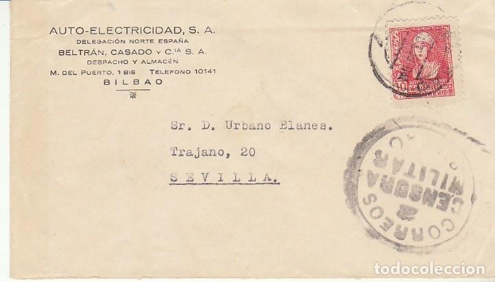 CENSURA: BILBAO ASEVILLA.1938 (Sellos - España - Guerra Civil - De 1.936 a 1.939 - Cartas)