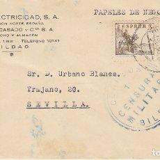 Sellos: CENSURA : BILBAO A SEVILLA. 1938. Lote 178660523