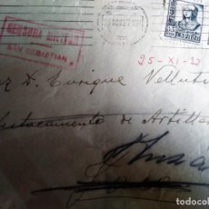 Sellos: CENSURA. MILITAR 1937. SAN SEBASTIAN A HUESCA REICAMINADA . Lote 178661982