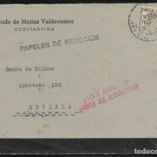 Sellos: 1937.- CONSTANTINA (SEVILLA) A SEVILLA.. Lote 178792755