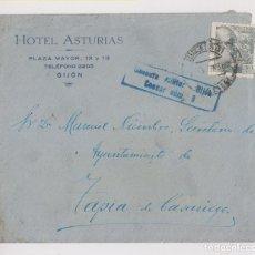 Sellos: SOBRE. CONSERVA LA CARTA. HOTEL ASTURIAS, GIJÓN. 1941. CENSURA MILITAR. Lote 178818277