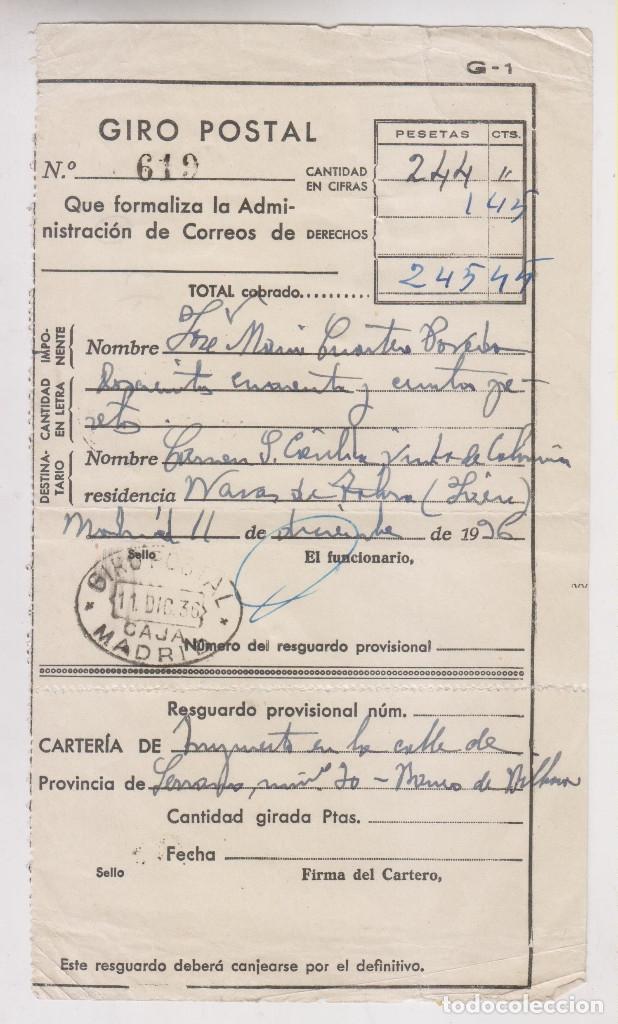 RESGUARDO GIRO POSTAL CORREOS. 1936. A NAVAS DE TOLOSA, JAÉN (Sellos - España - Guerra Civil - De 1.936 a 1.939 - Cartas)