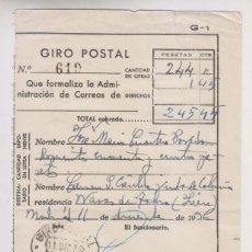 Sellos: RESGUARDO GIRO POSTAL CORREOS. 1936. A NAVAS DE TOLOSA, JAÉN. Lote 178819133