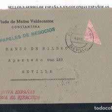Sellos: ESPAÑA. FRONTAL DE CARTA CIRCULADO CON SELLO BISECTADO DE ESPECIAL MOVIL. Lote 178853806