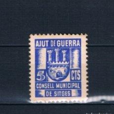 Timbres: GUERRA CIVIL SELLO LOCAL CONSELL MUNICIPAL DE SITGES. AJUT DE GUERRA 10 CTS * LOT011.. Lote 178878645