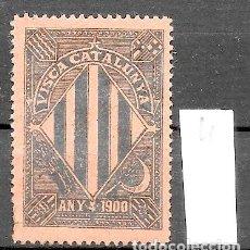Sellos: VN4-3-4 VIÑETA NACIONALISTA SEPARATISTA VISCA CATALUNYA ANY 1900 NATHAN Nº 10. Lote 178933517
