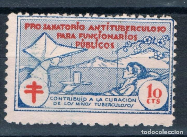 GUERRA CIVIL. SELLO BENEFICO PRO SANATORIO ANTITUBERCULOSO 10 CTS º LOT010 (Sellos - España - Guerra Civil - Beneficencia)