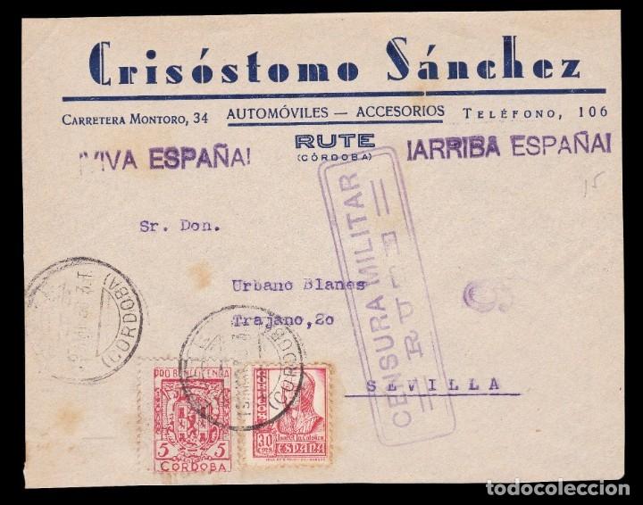 *** FRONTAL RUTE (CÓRDOBA)-SEVILLA 1938. CENSURA MILITAR RUTE. AUTOMÓVILES CRISÓSTOMO SÁNCHEZ *** (Sellos - España - Guerra Civil - De 1.936 a 1.939 - Cartas)