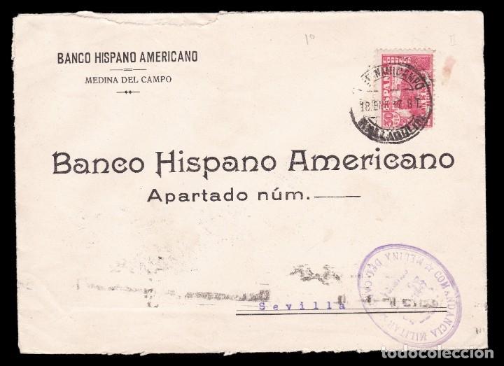 *** CARTA MEDINA DEL CAMPO-SEVILLA 1937. CENSURA MEDINA DEL CAMPO + 30 CTS JUNTA DE DEFENSA *** (Sellos - España - Guerra Civil - De 1.936 a 1.939 - Cartas)
