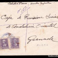 Sellos: *** RARA CARTA ÁLORA (MÁLAGA)-GRANADA 1939. FRANQUICIA Y CENSURA DE ÁLORA (MÁLAGA) ***. Lote 179007000