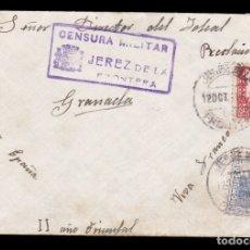 Sellos: *** CARTA JEREZ DE LA FRONTERA-GRANADA 1937. RMTE. AVIACIÓN MILITAR 4º COMP. DE JEREZ Y CENSURA ***. Lote 179007873