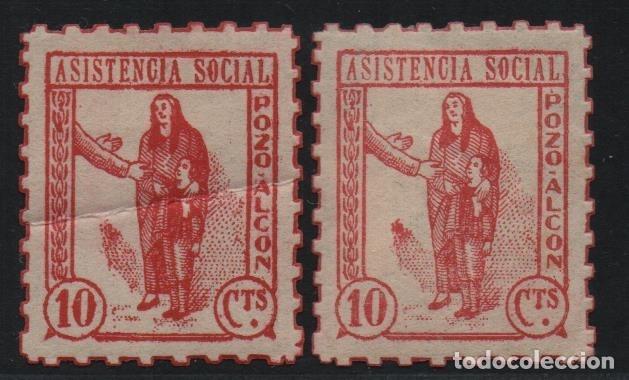 POZOALCON-- JAEN-- DOS TONOS DE ROJO, 5 CTS, ASISTENCIA SOCIAL-- NUEVOS, VER FOTO (Sellos - España - Guerra Civil - De 1.936 a 1.939 - Usados)