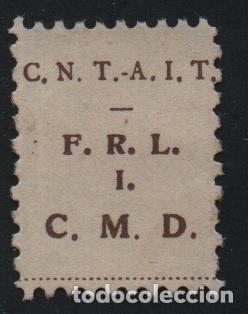 C.N.T. - A.I.T. -CASTAÑO- F.R.L. =FDE. RG. LEVANTE- I =INDUSTRIA. C.M.D= CONSTRUCCIO MADERA Y DECO (Sellos - España - Guerra Civil - De 1.936 a 1.939 - Usados)