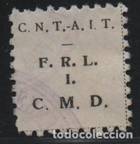 C.N.T. - A.I.T. -NEGRO- F.R.L. =FDE. RG. LEVANTE- I =INDUSTRIA. C.M.D= CONSTRUCCIO MADERA Y DECO (Sellos - España - Guerra Civil - De 1.936 a 1.939 - Usados)