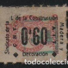 Sellos: C.N.T. - A.I.T. 0,60 PTAS, SOBRECARGA VERDE-SINDICATO DE LA CONSTRUCCIO MADERA Y DECORACION.VER FOTO. Lote 179071722