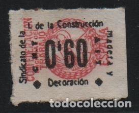 C.N.T. - A.I.T. 0,60 -ROSA- SINDICATO DE LA CONSTRUCCIO MADERA Y DECORACION. VER FOTO (Sellos - España - Guerra Civil - De 1.936 a 1.939 - Usados)