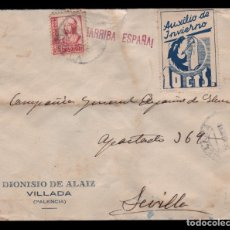 Sellos: *** CARTA VILLADA (PALENCIA)-SEVILLA 1937. 10 CTS AUXILIO DE INVIERNO ***. Lote 179092318
