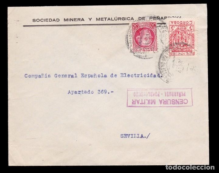 * CARTA PEÑARROYA PUEBLONUEVO-SEVILLA 1937. CENSURA PEÑARROYA-PUEBLONUEVO ROJO + BENÉFICO CÓRDOBA * (Sellos - España - Guerra Civil - De 1.936 a 1.939 - Cartas)