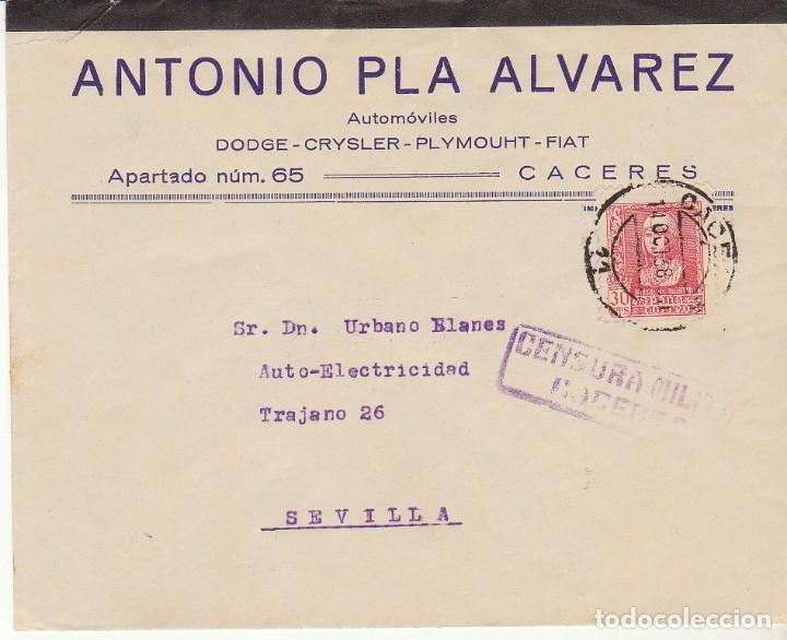 CENSURA: CACERES A SEVILLA. 1938 (Sellos - España - Guerra Civil - De 1.936 a 1.939 - Cartas)