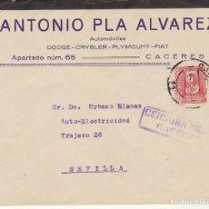 Sellos: CENSURA: CACERES A SEVILLA. 1938. Lote 179236421