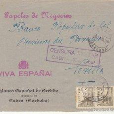 Sellos: CENSURA : CABRA( CORDOBA) A SEVILLA. 1938. Lote 179236676