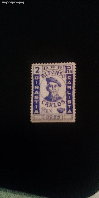 SELLO - VIÑETA CARLISTA. 2 PESETAS. D. ALFONSO CARLOS. (CARLISMO, REQUETÉ) (Sellos - España - Guerra Civil - De 1.936 a 1.939 - Nuevos)