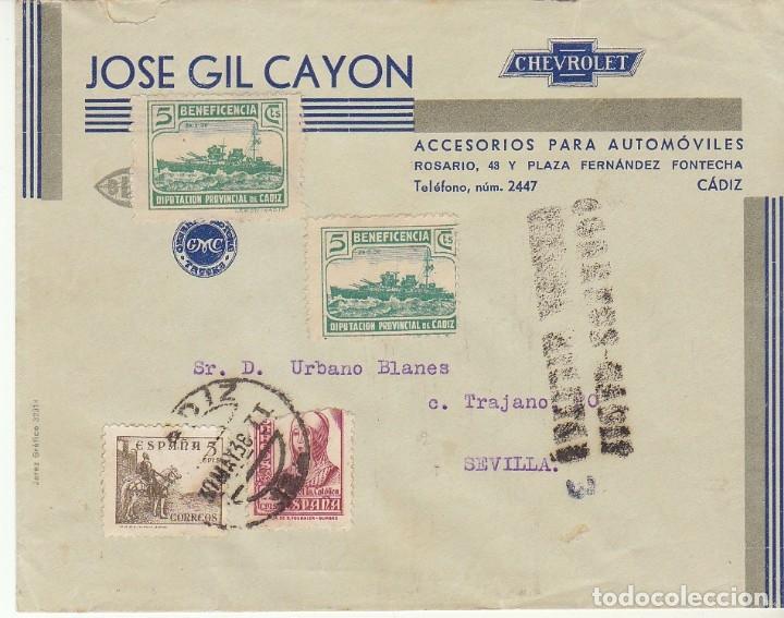 CENSURA: CADIZ A SEVILLA. 1938 (Sellos - España - Guerra Civil - De 1.936 a 1.939 - Cartas)