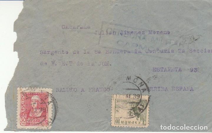 CENSURA: CARMONA (SEVILLA) A ESTAFETA 93. (Sellos - España - Guerra Civil - De 1.936 a 1.939 - Cartas)