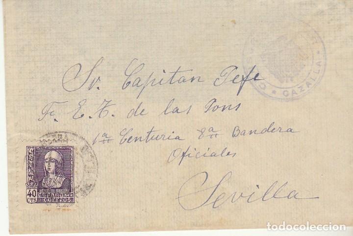 CENSURA : CAZALLA A SEVILLA (Sellos - España - Guerra Civil - De 1.936 a 1.939 - Cartas)