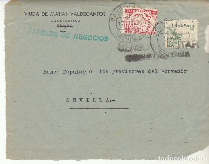 CENSURA: FRONTAL. COSTANTINA A SEVILLA (Sellos - España - Guerra Civil - De 1.936 a 1.939 - Cartas)