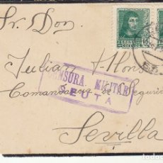 Sellos: CENSURA: FRONTAL. CEUTA A SEVILLA.1938. Lote 179396703