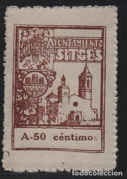 SITGES, 50 CTS .- A.- VARIEDAD, SIN --S-- EN CENTIMOS.- SELLO MUNICIPAL, VER FOTO (Sellos - España - Guerra Civil - De 1.936 a 1.939 - Usados)