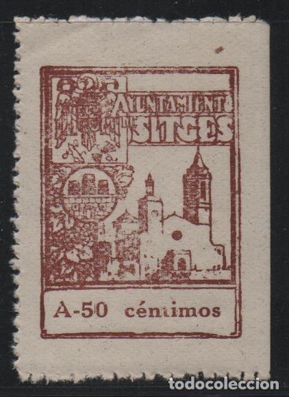 SITGES, 50 CTS .- A.- CON --S-- EN CENTIMOS.- SELLO MUNICIPAL, VER FOTO (Sellos - España - Guerra Civil - De 1.936 a 1.939 - Usados)