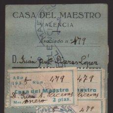Sellos: VALENCIA,-CARNET CASA DEL MAESTRO, 5 CUOTAS, VER FOTOS, . Lote 179541271