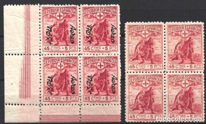 ESPAÑA, 1938 EDIFIL Nº 767, 768 /**/, CRUZ ROJA ESPAÑOLA, BLOQUE DE CUATRO, SIN FIJASELLOS. (Sellos - España - Guerra Civil - De 1.936 a 1.939 - Nuevos)
