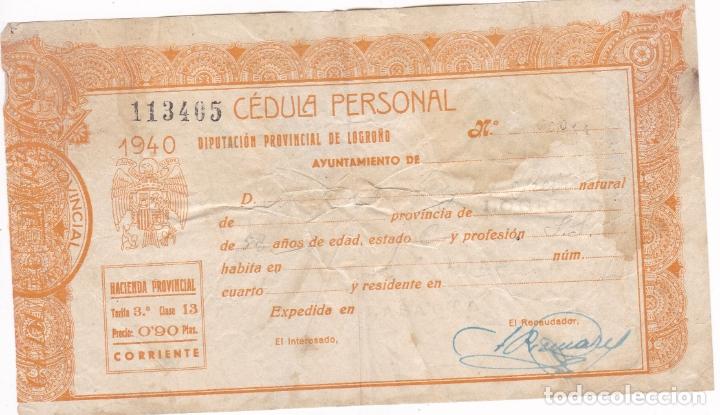 GG4- FISCALES HACIENDA PÚBLICA. CÉDULA PERSONAL 1940. 0.90 CTS (Sellos - España - Guerra Civil - Viñetas - Nuevos)