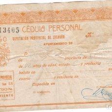 Sellos: GG4- FISCALES HACIENDA PÚBLICA. CÉDULA PERSONAL 1940. 0.90 CTS . Lote 180033888
