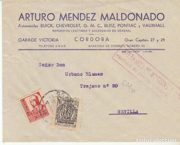 CENSURA: CORDOBA A SEVILLA (Sellos - España - Guerra Civil - De 1.936 a 1.939 - Cartas)