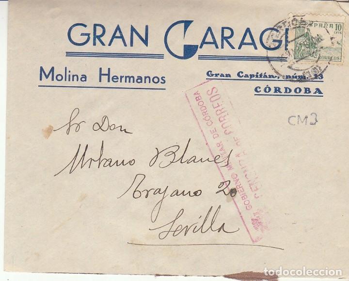 CENSURA: CÓRDOBA A SEVILLA.1938 (Sellos - España - Guerra Civil - De 1.936 a 1.939 - Cartas)