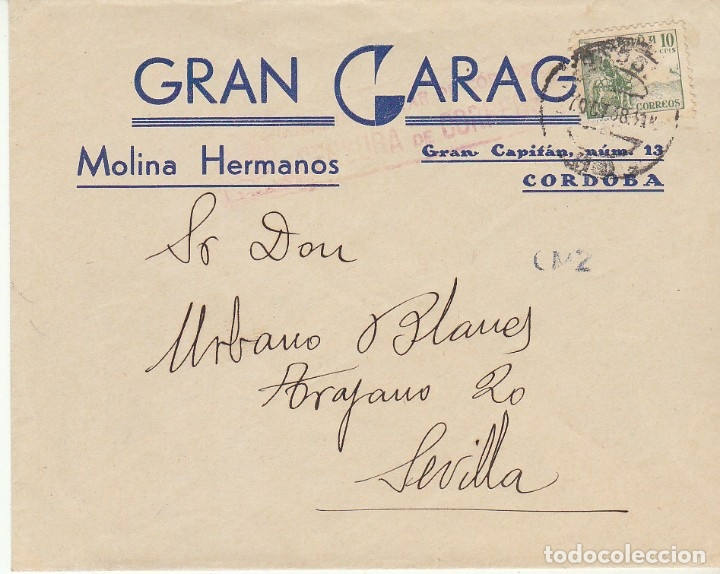 CENSURA: CÓRDOBA A SEVIILLA.1938 (Sellos - España - Guerra Civil - De 1.936 a 1.939 - Cartas)