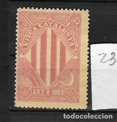 VN4-3-23 VIÑETA NACIONALISTA SEPARATISTA VISCA CATALUNYA ANY 1900 NATHAN Nº 10. SIN GOMA (Sellos - España - Guerra Civil - Viñetas - Nuevos)