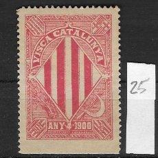 Sellos: VN4-4-25 VIÑETA NACIONALISTA SEPARATISTA VISCA CATALUNYA ANY 1900 NATHAN Nº 10 VARIEDD PAPEL DELGADO. Lote 180191755