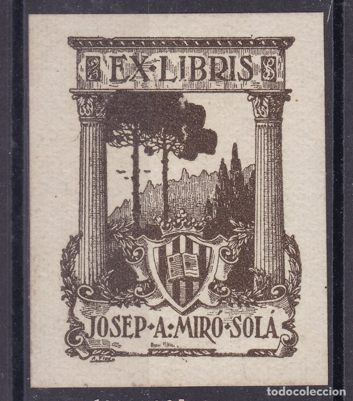 CC14- EX LIBRIS JOSEP A. MIRÓ SOLÁ. PERFECTO . 54 X43 MM (Sellos - España - Guerra Civil - Viñetas - Nuevos)
